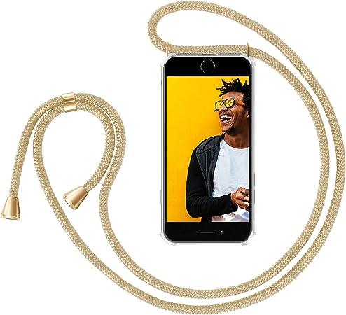 Zhinkarts Handykette Kompatibel Mit Apple Iphone 7 8 Iphone Se 2020 4 7 Display Smartphone Necklace Hülle Mit Band Handyhülle Case Mit Kette Zum Umhängen In Beige Gelb Elektronik