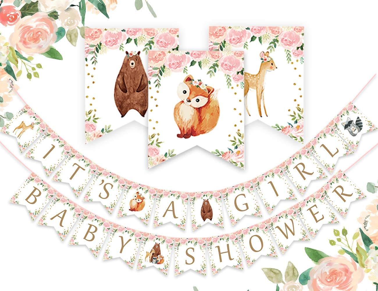 Amazon Com Woodland It S A Girl Baby Shower Banner Forest Animal Garland For Woodland Creatures Baby Shower Decorations Toys Games