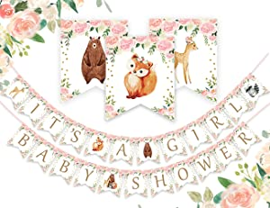 Woodland It's a Girl Baby Shower Banner - Forest Animal Garland for Woodland Creatures Baby Shower Decorations