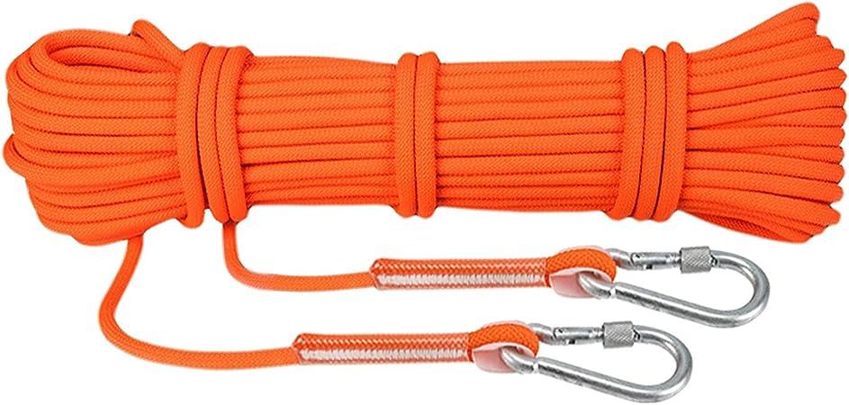 WILDKEN Cuerda para Escalada con Mosquetón Cuerda de Paracaídas de Fibra Escape de Supervivencia con Ganchos Largo de 10m/ 15m/ 20m/ 30m