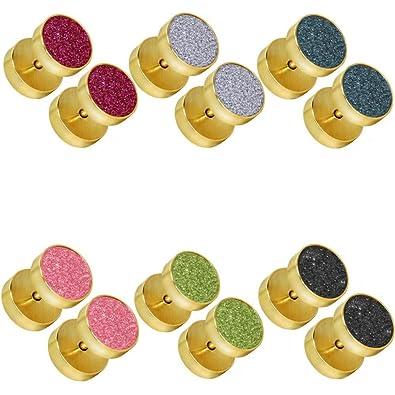 tumundo Set de 6 Piezas/1 Pieza Pendientes Falso Piercing Fake Plug Acero Tunnel Túnel Tramposo Joyas Dilatador Oreja, Color golden - Alle Farben/golden ...