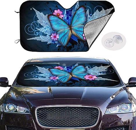 Msguide Blauer Schmetterling Sonnenschutz Für Die Windschutzscheibe Sonnenschutz Für Auto Lkw Suv Blockiert Uv Strahlen Sonnenblende Hält Ihr Fahrzeug Kühl 147 7 X 71 1 Cm Auto