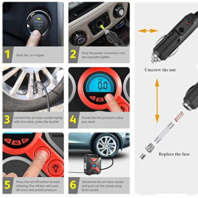 12V DC Digital Pressure Gauge Tire Pump with Emergency Lights 8.2 ft Cable Automatic Air Pump for Car Tire Jazzpuss Tire Inflator