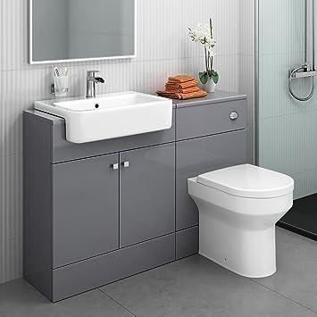 1160 Mm Modern Gloss Grey Bathroom Door Vanity Unit Basin Sink Toilet Furniture Set