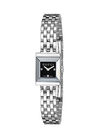 Amazon Gucci G Frame Square Steel Bracelet Black Diamond Dial