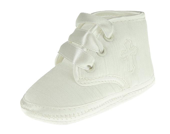 Bebé Niños Niñas marfil Lace Up Zapatos de bautizo patucos Embroidred Cruz   Amazon.es  Ropa y accesorios 41796f3885f4