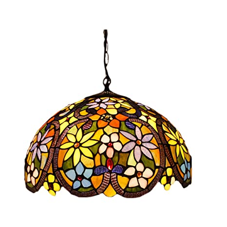 fumat tiffany pendant light 16 led stained glass lamp shade e26