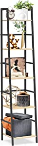 SpringSun 5-Tier Ladder Shelf Bookcase, Living Room Rustic Standing Shelf Storage Organizer, Wood and Metal Shelf for Home and Office