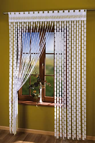 "Thick String Curtain Panel White Greek Key 59"" Width X 98"