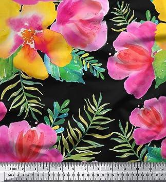 a7db25afa135 Soimoi Schwarz Viscose Chiffon Stoff Blumen Stoff Blumen-Druck von Metern  42 Zoll Breite