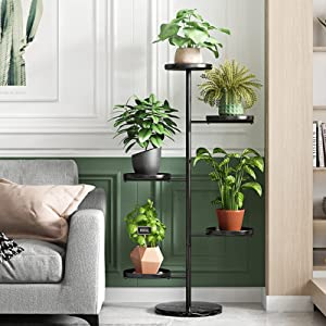 Plant Stand for Indoor Plants, 5 Tier Metal Plant Stand Tall, Multiple Flower Pot Holder for Living Room, Outdoor,Corner, Balcony -Black