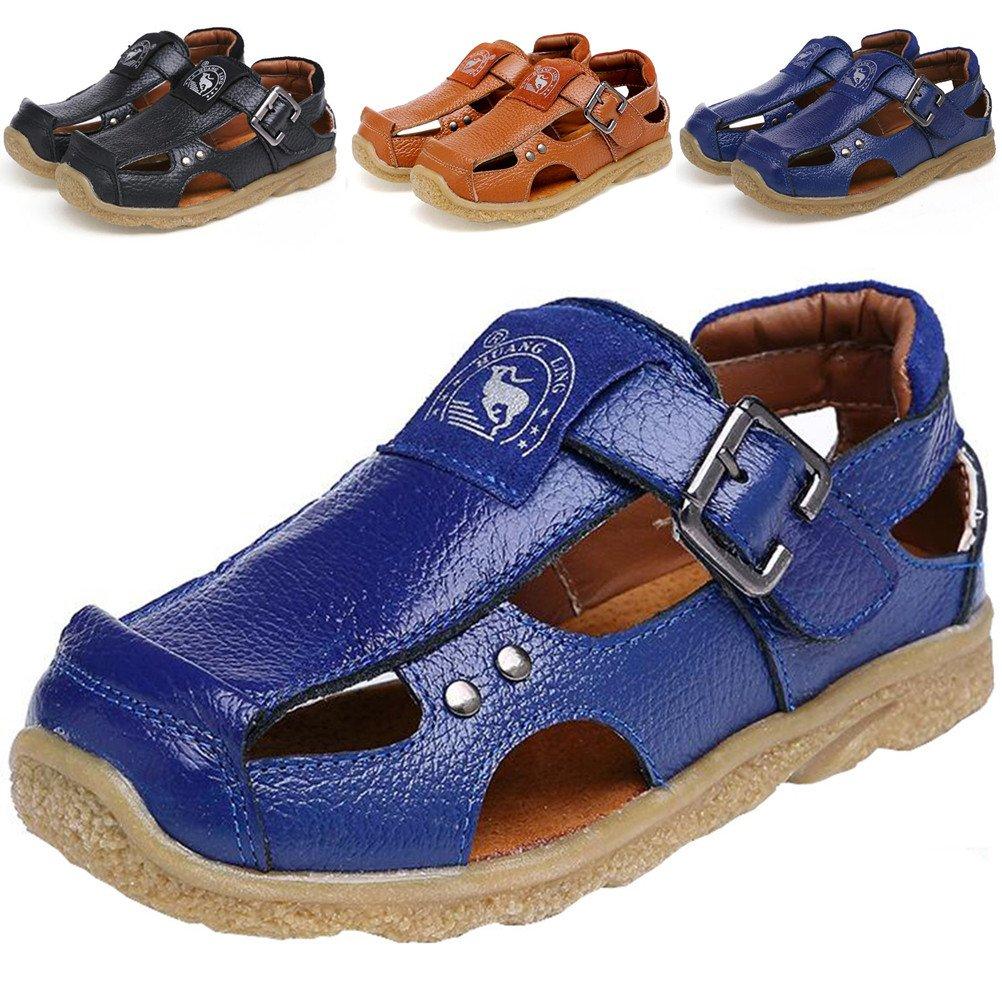 DADAWEN Boy's Girl's Athletic Summer Leather Outdoor Closed-Toe Strap Sandal(Toddler/Little Kid/Big Kid) Blue US Size 8.5 M Toddler