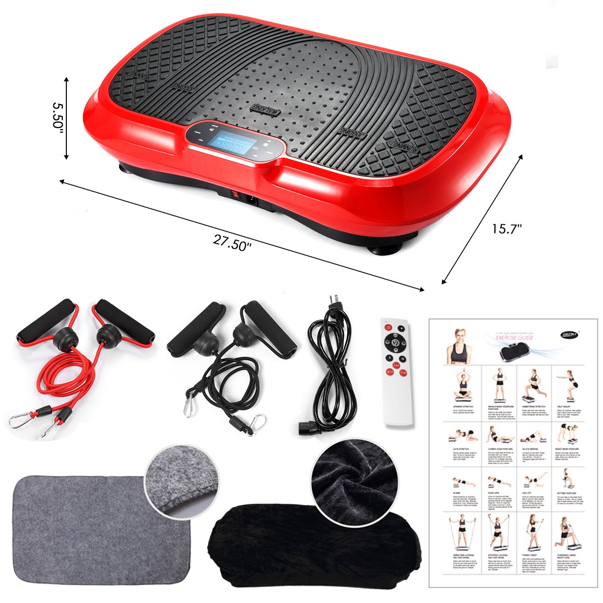GENKI YD-1010B-R Ultra Slim Vibration Machine Plate Platform Whole Body Shaper Trainer Exercise Red by GENKI (Image #6)