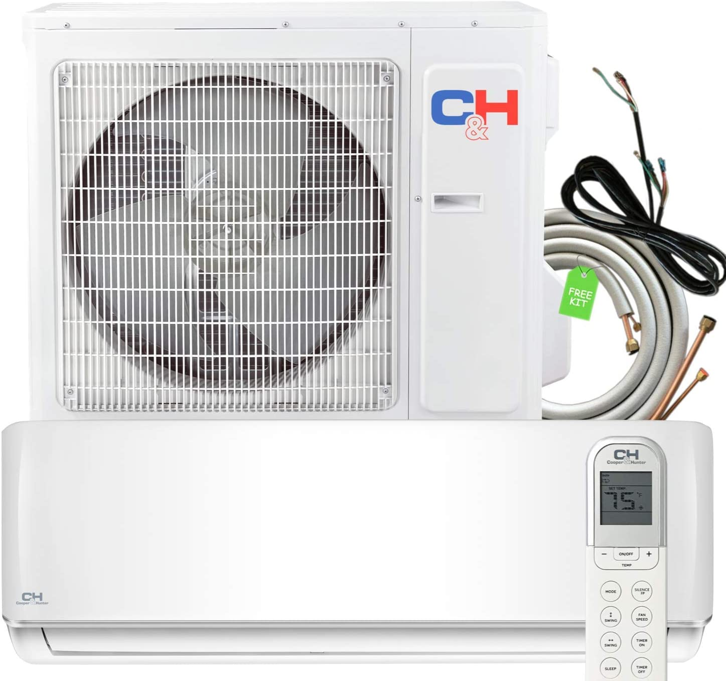 18000 BTU Heating and Cooling Ductless Mini Split Air Conditioner 208/230 V Heat Pump Energy Rated with Installation Kit