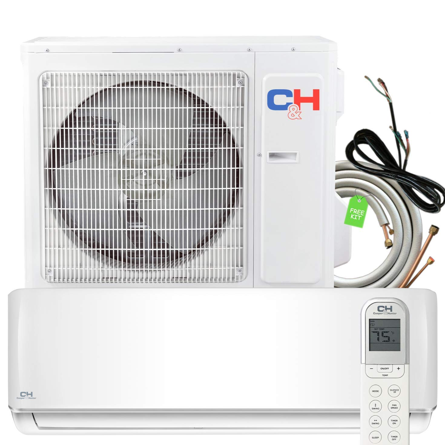 36000 BTU Heating and Cooling Ductless Mini Split Air Conditioner Heat Pump with Installation Kit