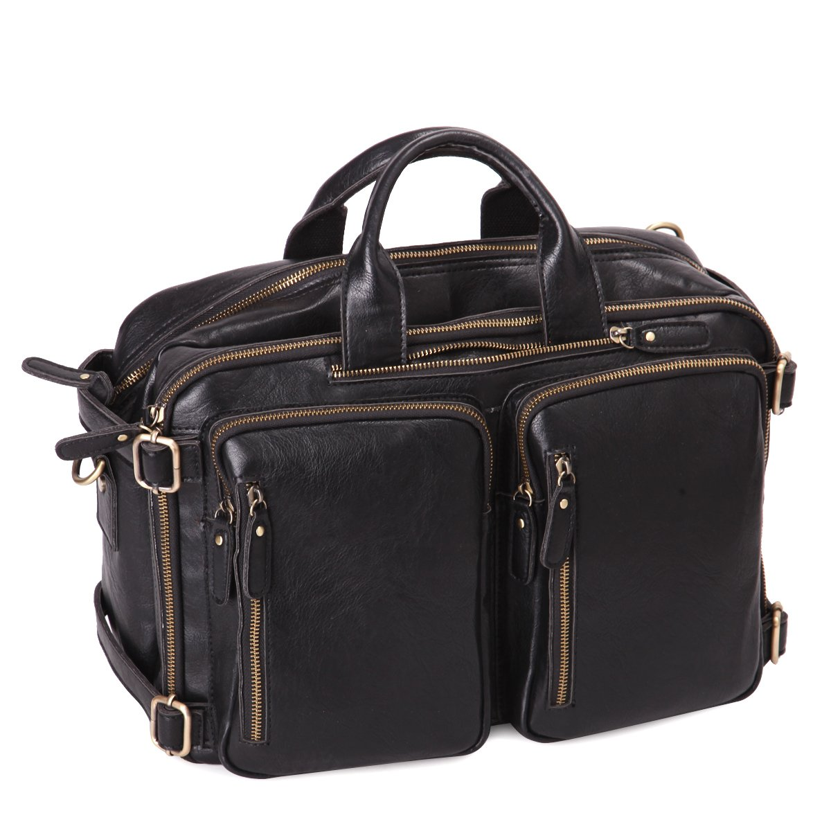 Leathario PU Leather Multifunction Messenger Bag Backpack mens shoulder bag