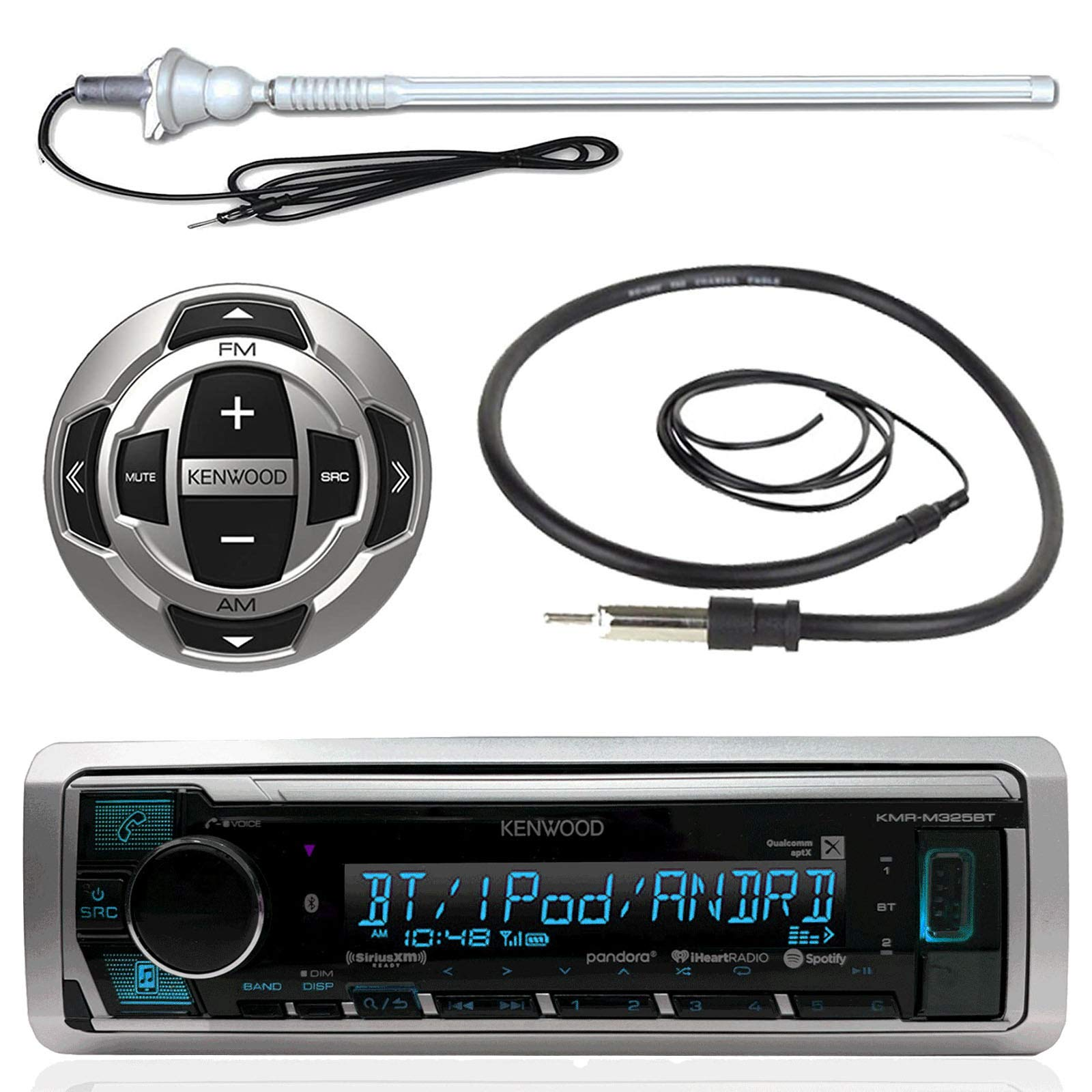 Kenwood MP3/USB/AUX Marine Boat Yacht Stereo Receiver Player Bundle Combo w/ RC35MR Wired Remote Control, Enrock Water Resistant 22'' Radio Antenna, Outdoor Rubber Mast AM/FM 45'' Antenna by Enrock Kenwood