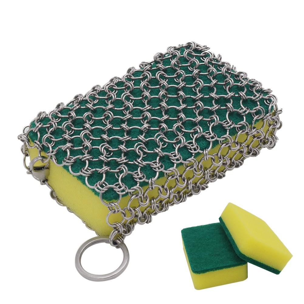 Cast Iron Cleaner, Stainless Steel Chainmail Scrubber with 3pcs Sponges for Pre Seasoned Skillet, Dutch Oven, Waffle Iron, Grill Pan,Frying Pan and More, Faster Cleaning and Easy Handing