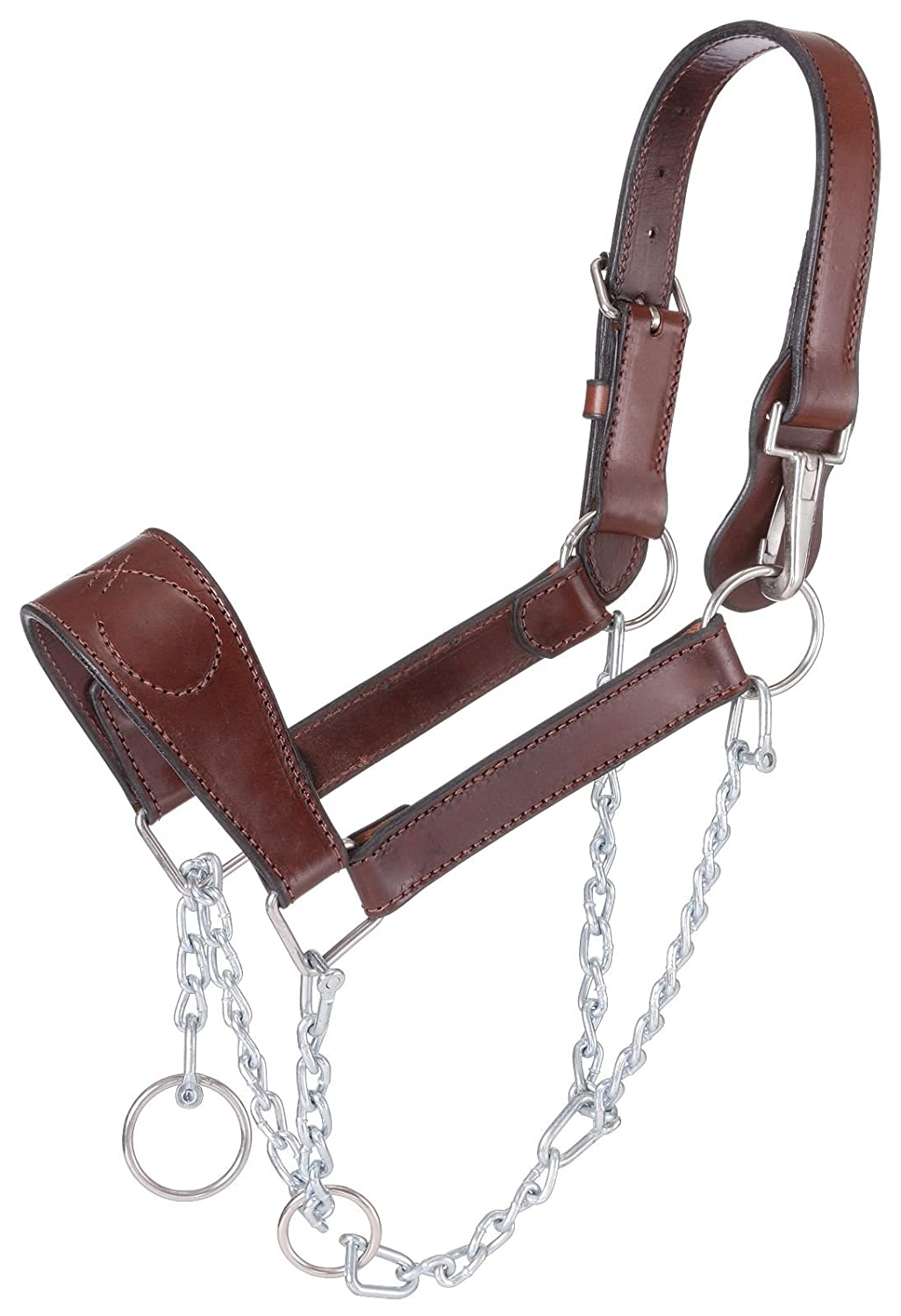 Tough 1 Leather Mule Halter with Draw Chain, Brown