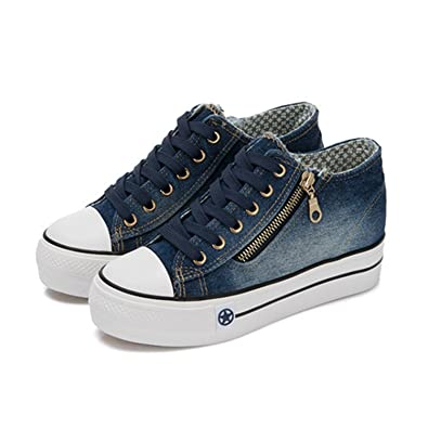 74069107d37 MRxcff Sneakers High Platform Denim Shoes for Women Breathable Thick Heel  Canvas Shoes Women Casual Trainers