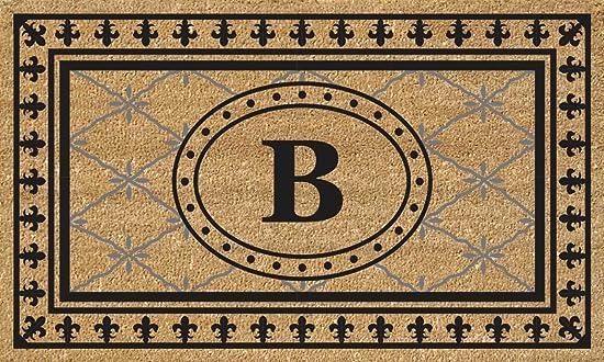 Nedia Home Super Scraper Bungalow Vinyl Coir Doormat, Monogrammed B, 18 x 30
