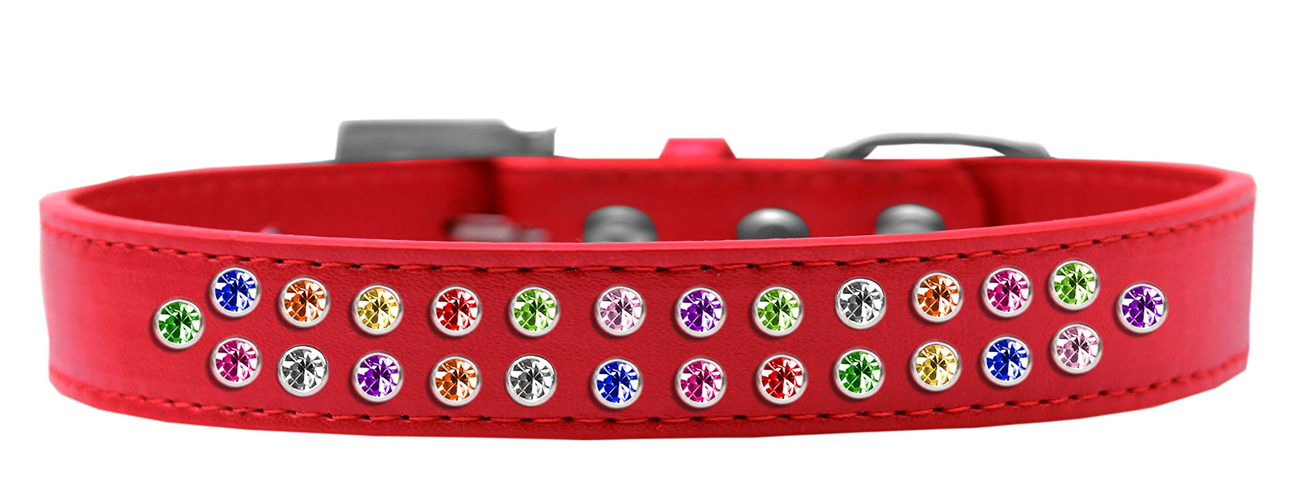 Mirage Pet Products Two Row Confetti Crystal Red Dog Collar, Size 20 by Mirage Pet Products