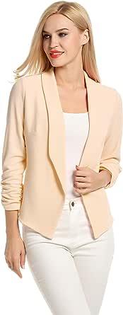 POGTMM Women 3/4 Sleeve Blazer Open Front Cardigan Jacket Work Office Blazer
