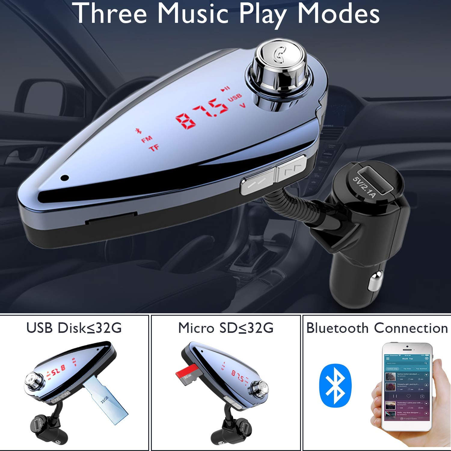 USB Port PeakAge S6 Bluetooth mp3 Audio Player for Car with Multifunction/'s FM Transmitter with Dual USB Output Charging Port Hands Free Call and SD//TF Card Support