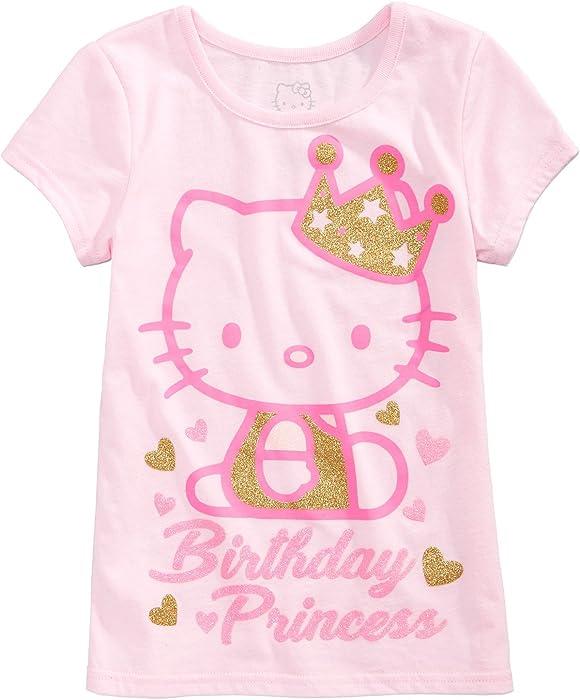 Hello Kitty Little Girl Birthday PrincessTee Shirt Top Size 6X Petal Pink