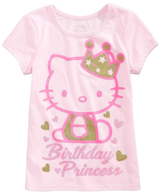 b179006d Amazon.com: Hello Kitty Little Girl Birthday PrincessTee Shirt Top Size 6  Petal Pink: Clothing