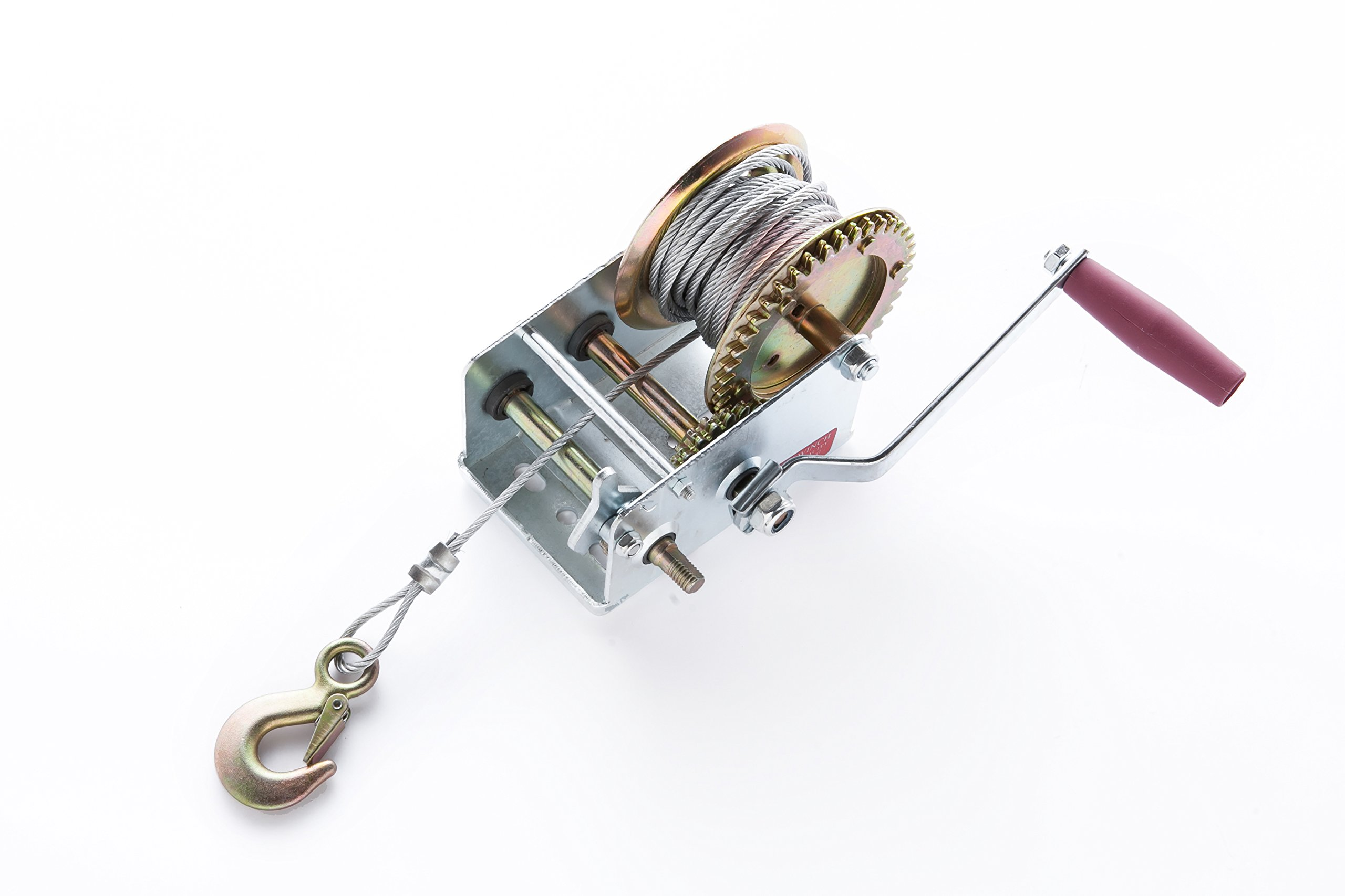 2000lbs Hand Winch Manual Operated with Steel Wire ATV Boat Trailer Marine