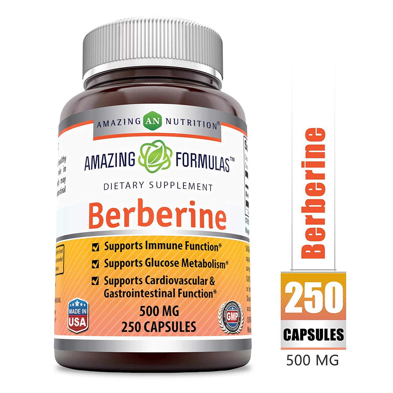Amazing Formulas Berberine Plus 500 mg Capsules – Supports Immune System – Supports Glucose Metabolism – Aid in Healthy Weight Management 250 Count