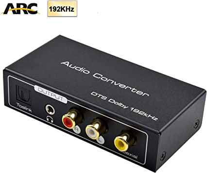 AMANKA HDMI Extractor de Audio 192KHz Convertidor DAC ARC Extractor de Audio Soportar HDMI Audio Digital a Audio Analógico RCA L/R, Toslink y 3,5 mm Jack ARC Adaptador de Audio para TV: