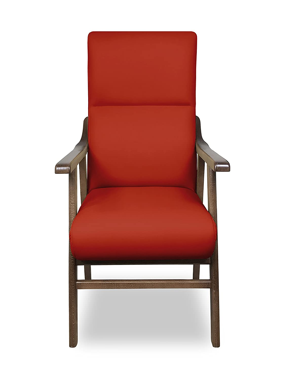 SERMAHOME Sillon butaca Boston, Estructura de Madera de Haya Color Nogal. Tapizado en Polipiel Color Rojo. Sillon para Comedor | Silla geriatrica | ...