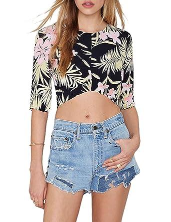 79facdd39ea2d Haoyihui Womens Floral Print Zipper Back Half Sleeve Crop Top Blouse ...