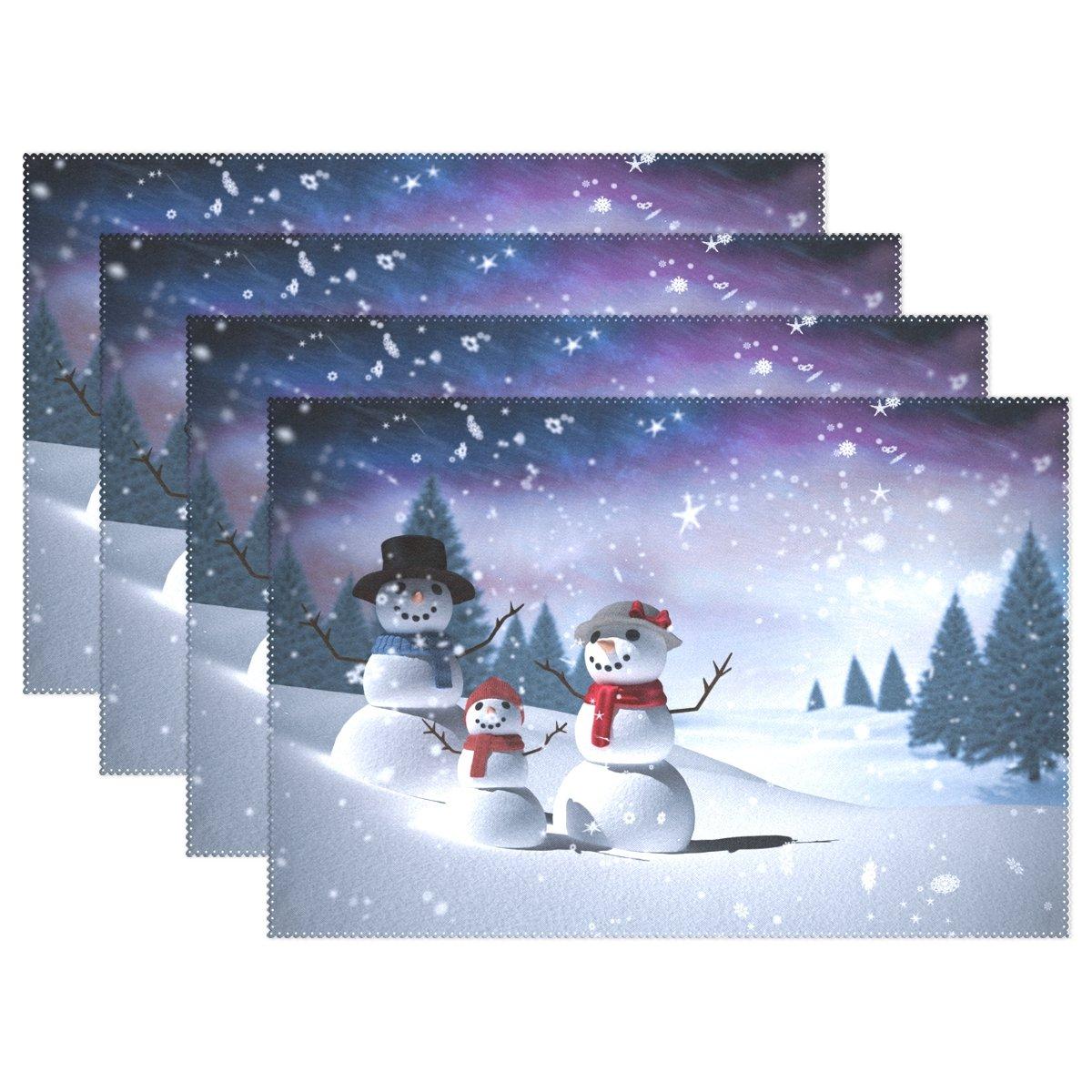 Alazaクリスマス雪だるまツリー12 x 18インチプレースマット耐熱性ダイニングテーブルマットノンスリップ洗濯可能Placeマットホームキッチンの装飾 12 x 18 inch g1534333p145c160s252 6  B076S4KHGX
