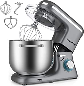 HOWORK Stand Mixer, 8.45 QT Bowl 660W Food Mixer, Multi Functional Kitchen Electric Mixer With Dough Hook, Whisk, Beater (8.45 QT, Grey)