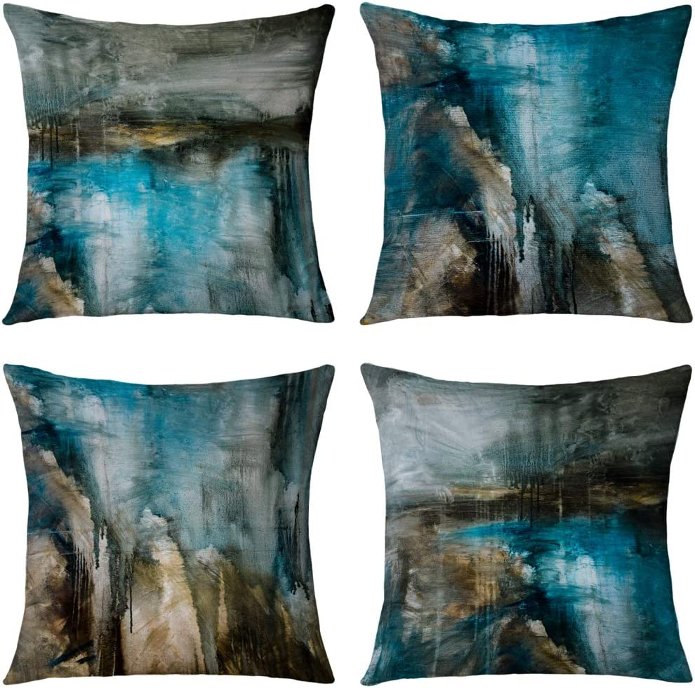 GALMAXS7 Teal Throw Pillow Cover 16 x 16 Set of 4 Turquoise and Grey Art Modern Farmhouse Decorative Pillow Cover Sets Teal Pillow Covers for Sofa Bedroom Living Room Decor