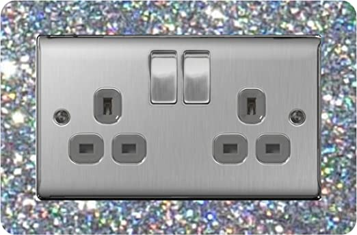 8 x FINGER PLATE CLEAR TWIN DOUBLE ELECTRICAL LIGHT SOCKET SWITCH 2 GANG
