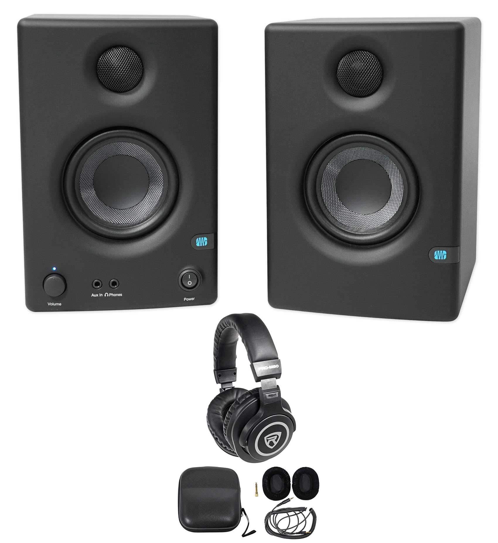 Pair Presonus Eris E3.5 3.5'' Powered Studio Monitor Speakers+Studio Headphones by PreSonus