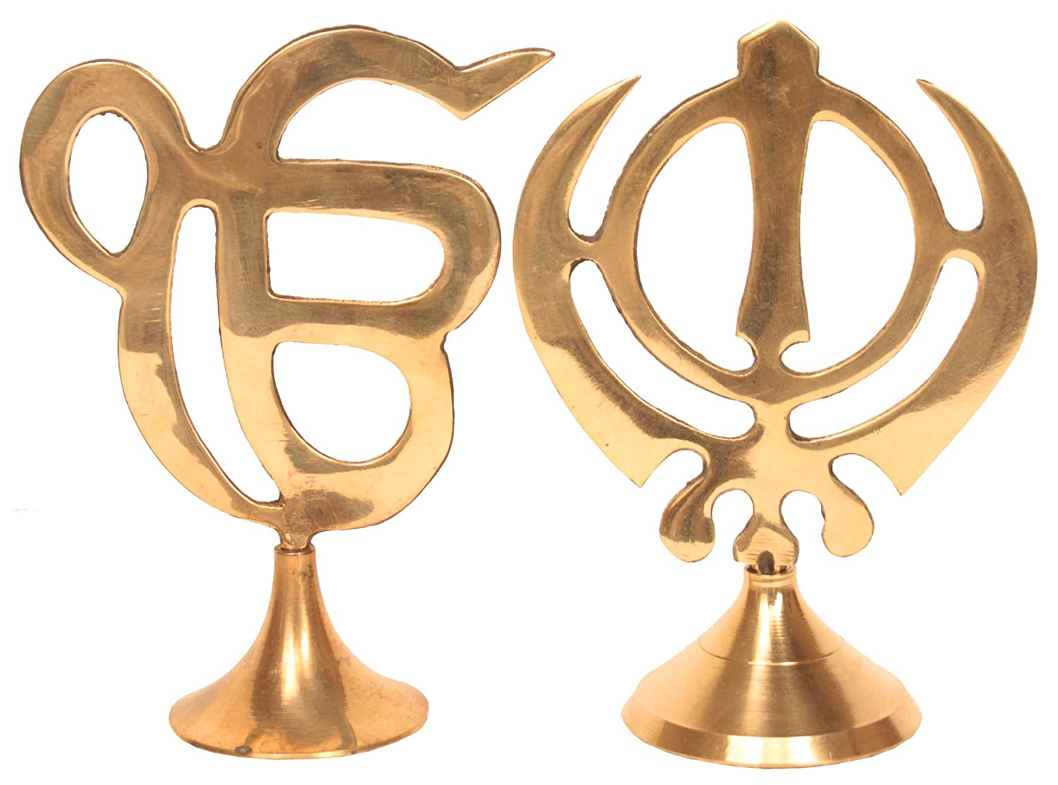 Hashcart Sikh Religious Symbol IK ONKAR & Khanda Showpiece for Home Decor, Office, Car - (5.5 Inch) HC-BR-ONKAR+KHANDA85