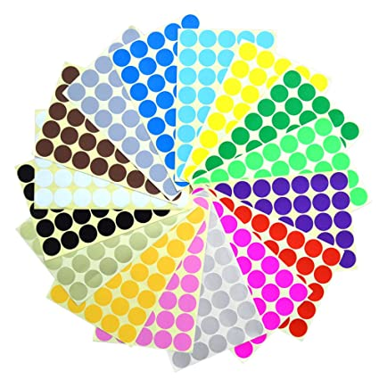 Bronagrand 16 sheets 2 5 cm 1 inch round dot stickers color coding labels 16