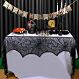 AerWo Halloween Decoration Black Lace Spiderweb