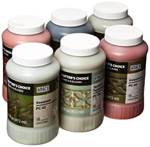 AMACO Potters Choice Lead-Free Glaze Set - B, 1 pt, Assorted Colors, Set of 6 - 39219X