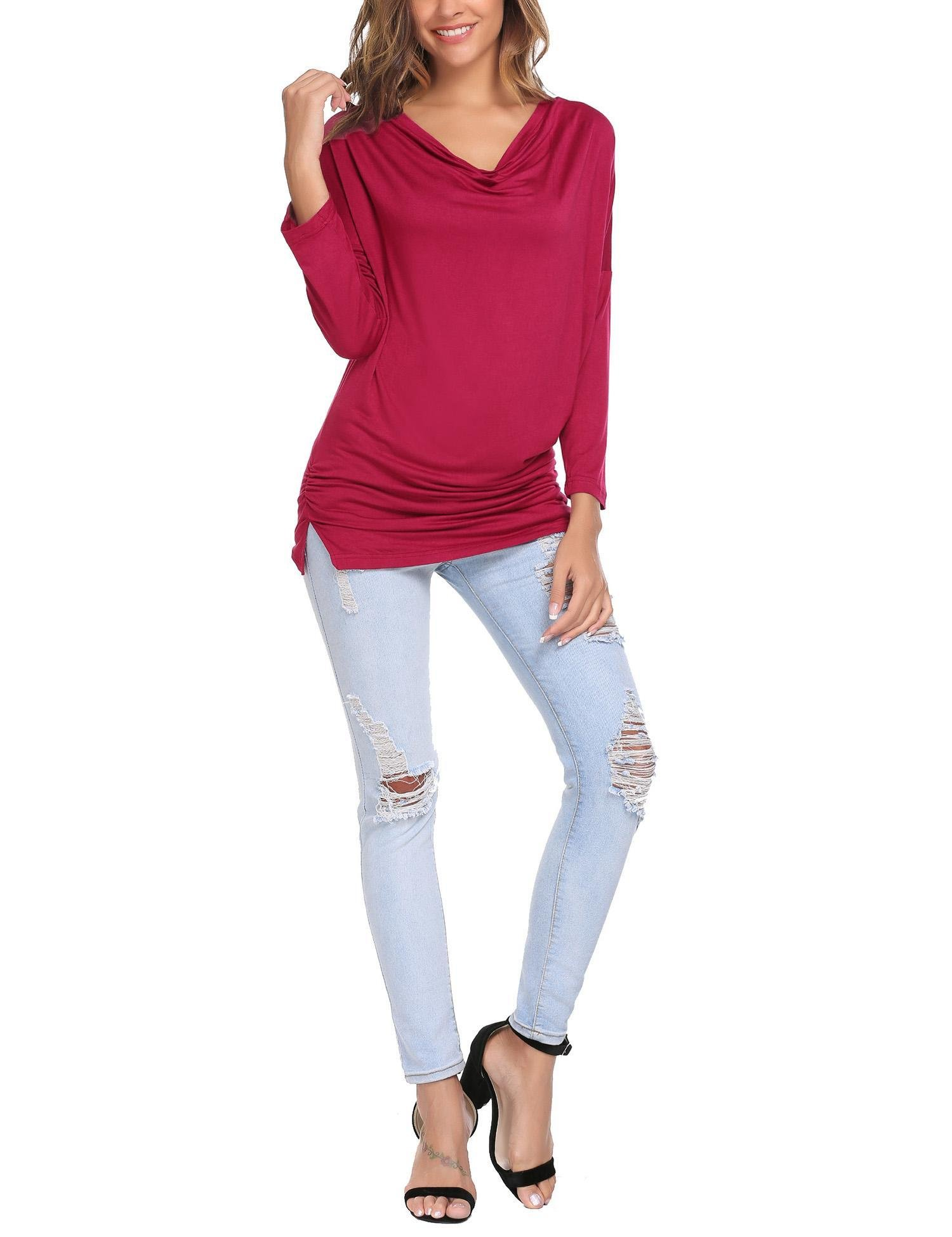 Zeagoo Womens Boat Neck Dolman Comfy Top Long Sleeve Tunic Solid Shirring Drape Jersey Tops Wine Red/M