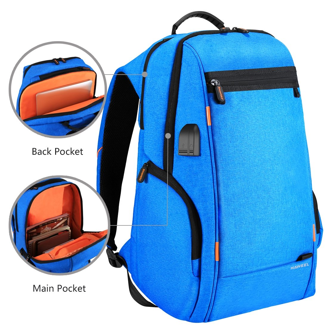 Amazon.com  HAWEEL Outdoor Multi-Function Solar Panel Power Breathable  Casual Backpack Laptop Bag School Bookbag for College Travel Backpack, with  USB ... ee3dcb30a4