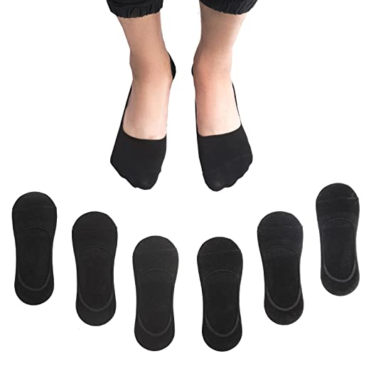 69da77305 Image Unavailable. Image not available for. Color  No Show Mens Socks 6  Pairs Cotton Non Slip Low Cut Invisible Loafer ...