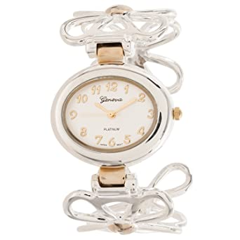 Geneva Platinum Womens Flower Bangle Quartz Watch, Silver/Gold