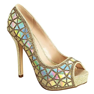 Adult Nude AB Rhinestone Peep Toe Stiletto Heel Carina-33 Pumps 5-12 Women