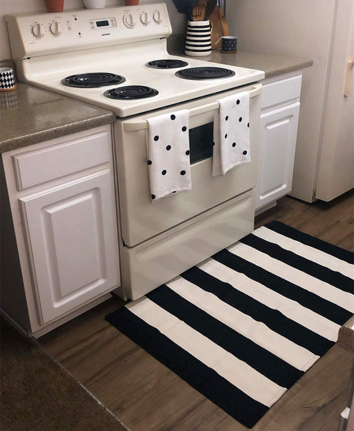 Ukeler Washable Black and White Striped Porch Rug/Door Mat 27.5 x 43.3 Inches Perfect Size for Layered Door Mats, Customized Size for Hello Welcome Doormat, Super Popular Farmhouse Décor